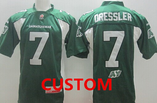 CFL Saskatchewan Roughriders Custom r Green Jersey