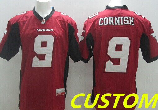 Custom CFL Calgary Stampeders Red Jersey
