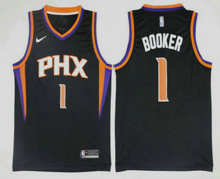 Men's Phoenix Suns #1 Devin Booker Black 2017-2018 Nike Icon Edition Swingman Jersey