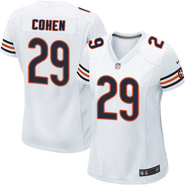 NFL Women's Chicago Bears #29 Tarik Cohen White Game Jersey