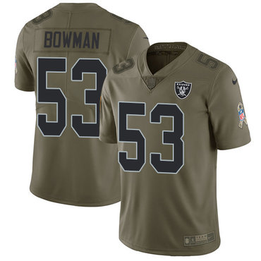 Nike Raiders #53 NaVorro Bowman Olive Men's Stitched NFL Limited 2017 Salute To Service Jersey