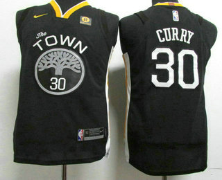 Youth Golden State Warriors #30 Stephen Curry Black 2017-2018 Nike Authentic Rakuten Stitched NBA Jersey