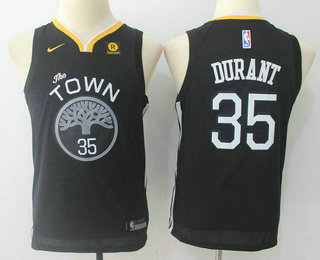 Youth Golden State Warriors #35 Kevin Durant Black 2017-2018 Nike Swingman Stitched NBA Jersey