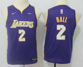 Youth Los Angeles Lakers #2 Lonzo Ball New Purple 2017-2018 Nike Swingman Wish Stitched NBA Jersey