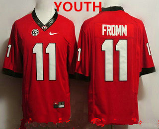 Youth Georgia Bulldogs #11 Jake Fromm Red Limited College Football Stitched Nike NCAA Jersey