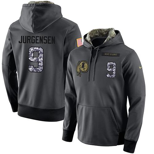 NFL Men's Nike Washington Redskins #9 Sonny Jurgensen Stitched Black Anthracite Salute to Service Player Performance Hoodie