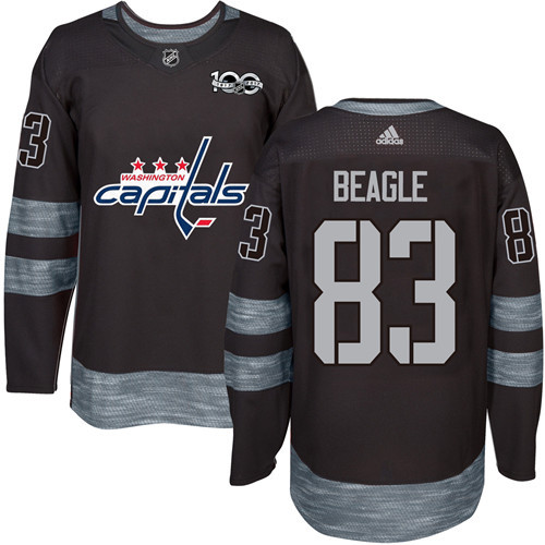 Men's Washington Capitals #83 Jay Beagle Black 100th Anniversary Stitched NHL 2017 adidas Hockey Jersey