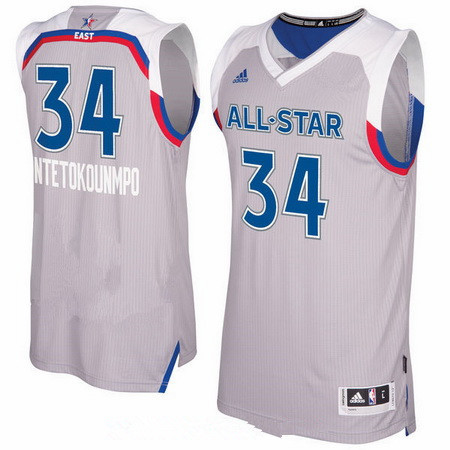 Men's Eastern Conference Milwaukee Bucks #34 Giannis Antetokounmpo adidas Gray 2017 NBA All-Star Game Swingman Jersey