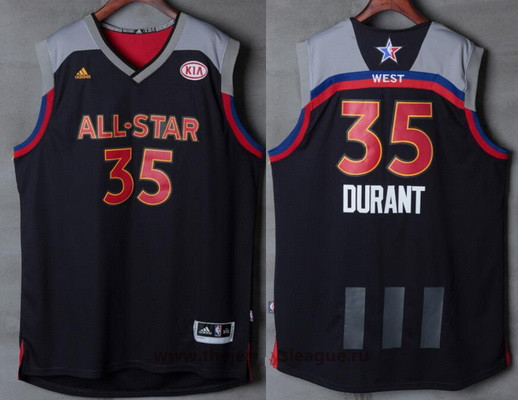 Men's Western Conference Golden State Warriors #35 Kevin Durant adidas Black Charcoal 2017 NBA All-Star Game Swingman Jersey