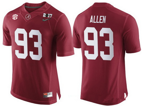 Men's Alabama Crimson Tide #93 Jonathan Allen Red 2017 Championship Game Patch Stitched CFP Nike Limited Jersey