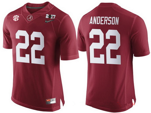 Men's Alabama Crimson Tide #22 Ryan Anderson Red 2017 Championship Game Patch Stitched CFP Nike Limited Jersey