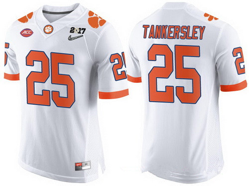 Men's Clemson Tigers #25 Cordrea Tankersley White 2017 Championship Game Patch Stitched CFP Nike Limited Jersey