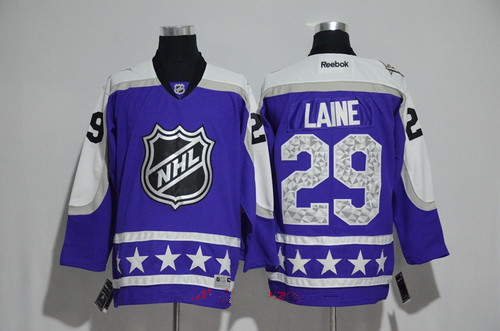 Men's Central Division Winnipeg Jets #29 Patrik Laine Reebok Purple 2017 NHL All-Star Stitched Ice Hockey Jersey