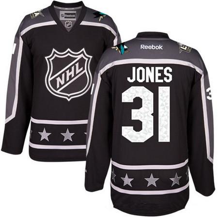 Men's Pacific Division San Jose Sharks #31 Martin Jones Reebok Black 2017 NHL All-Star Stitched Ice Hockey Jersey