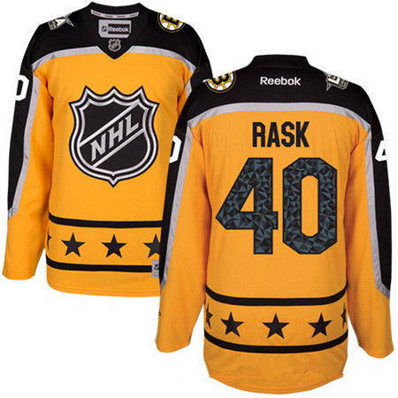 Men's Atlantic Division Boston Bruins #40 Tuukka Rask Reebok Yellow 2017 NHL All-Star Stitched Ice Hockey Jersey