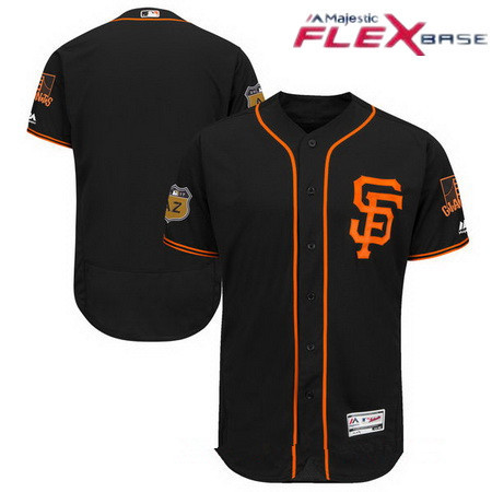 Men's San Francisco Giants Majestic Black 2017 Spring Training Authentic Flex Base Stitched MLB Custom Jersey
