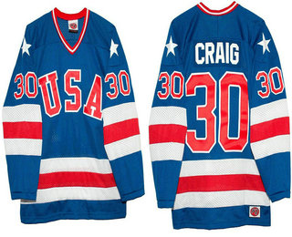 Men's 1980 Olympics USA #30 Jim Craig Royal Blue Throwback Stitched Vintage Ice Hockey Jersey