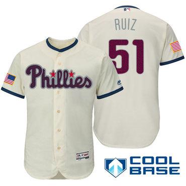 Men's Philadelphia Phillies #37 Odubel Herrera Cream Stars & Stripes Fashion Independence Day Stitched MLB Majestic Cool Base Jersey
