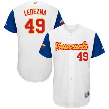 Men's Team Venezuela Baseball Majestic #49 Wil Ledezma White 2017 World Baseball Classic Stitched Authentic Jersey