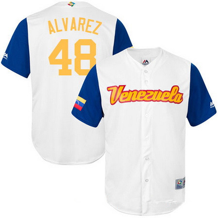 Men's Team Venezuela Baseball Majestic #48 Jose Alvarez White 2017 World Baseball Classic Stitched Replica Jersey