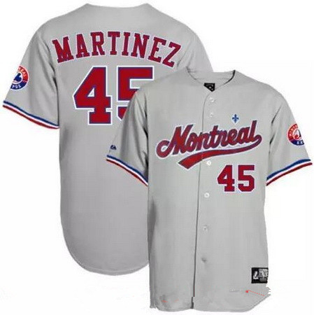 Men's Montreal Expos #45 Pedro Martinez Gray Road Throwback Stitched MLB Majestic Cooperstown Collection Jersey