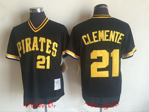 official photos 4281a 26155 Men's Pittsburgh Pirates #21 Roberto Clemente Black Mesh ...