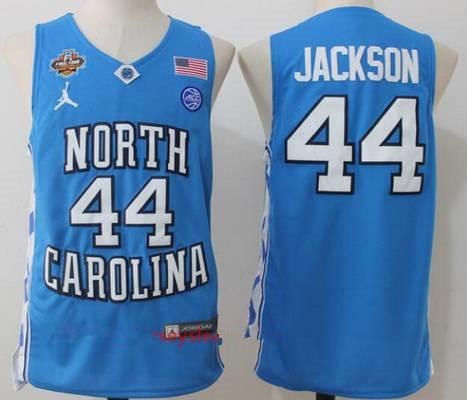 Men's North Carolina Tar Heels #44 Justin Jackson Light Blue Final Four Patch College Basketball 2017 Brand Jordan Swingman Stitched NCAA Jersey