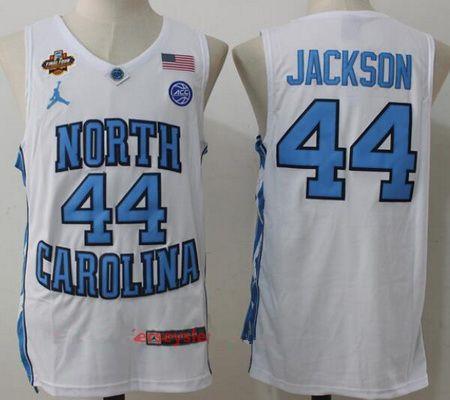 Men's North Carolina Tar Heels #44 Justin Jackson White Final Four Patch College Basketball 2017 Brand Jordan Swingman Stitched NCAA Jersey