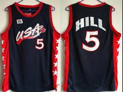 1996 Olympics Team USA Men's #5 Grant Hill Navy Blue Stitched Basketball Swingman Jersey