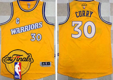 Men's Warriors #30 Stephen Curry Gold New Throwback 2017 The Finals Patch Stitched NBA Jersey