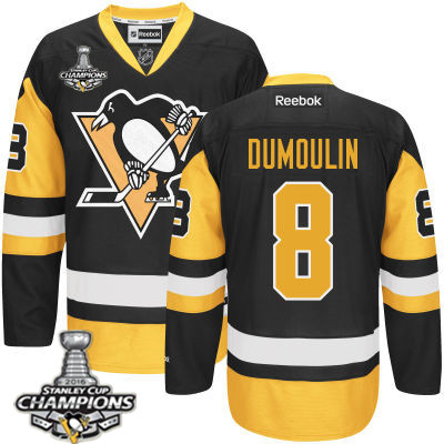 Men's Pittsburgh Penguins #8 Brian Dumoulin Black Third Jersey 2017 Stanley Cup Champions Patch
