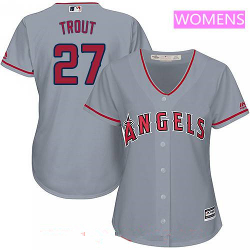 Women's Majestic Los Angeles of Anaheim #27 Mike Trout Authentic Grey Road Cool Base MLB Jersey