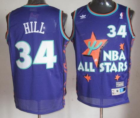 NBA 1995 All-Star #34 Grant Hill Purple Hardwood Classics Soul Swingman Throwback Jersey