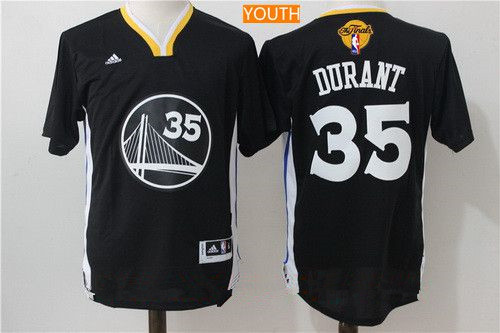 Youth Golden State Warriors #35 Kevin Durant Black Short-Sleeved Revolution 30 Swingman 2017 The NBA Finals Patch Jersey