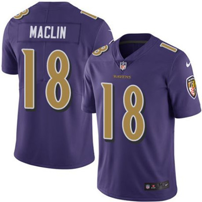 Nike Baltimore Ravens #18 Jeremy Maclin Purple Men's Stitched NFL Limited Rush Jersey