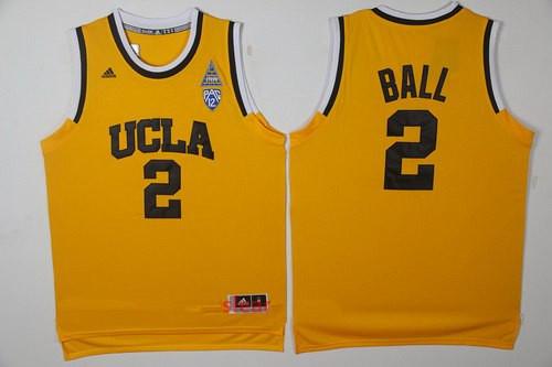 Men's UCLA Bruins #2 Lonzo Ball Yellow College Basketball 2017 adidas Swingman Stitched NCAA Jersey