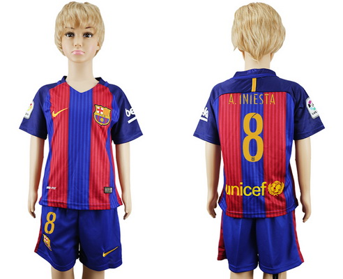 2016-17 Barcelona #8 A.INIESTA Home Soccer Youth Red and Blue Shirt Kit