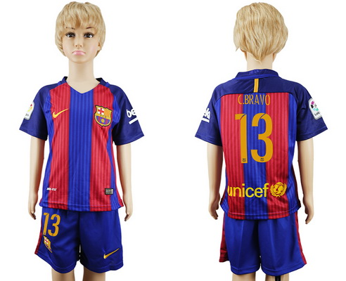 2016-17 Barcelona #13 C. BRAVO Home Soccer Youth Red and Blue Shirt Kit