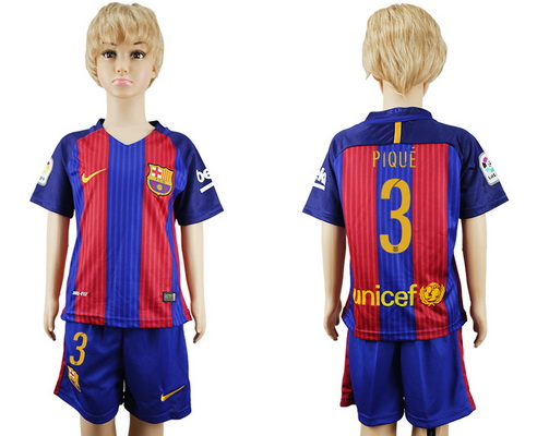 2016-17 Barcelona #3 PIQUE Home Soccer Youth Red and Blue Shirt Kit