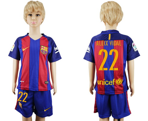 2016-17 Barcelona #22 ALEIX VIDAL Home Soccer Youth Red and Blue Shirt Kit