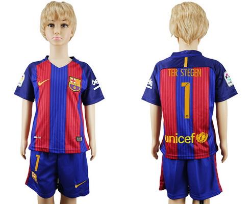 2016-17 Barcelona #1 TER STEGEN Home Soccer Youth Red and Blue Shirt Kit