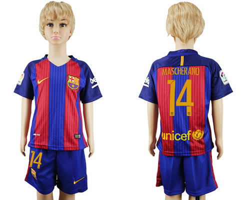 2016-17 Barcelona #14 MASCHERANO Home Soccer Youth Red and Blue Shirt Kit