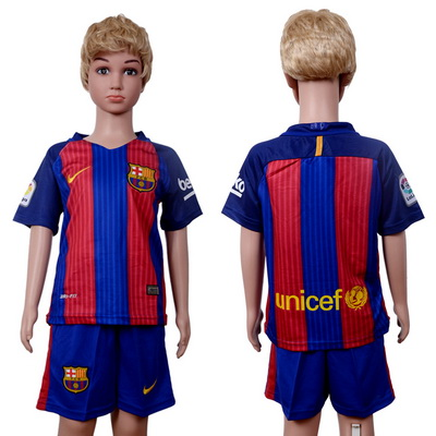 2016-17 Barcelona Blank or Custom Home Soccer Youth Red and Blue Shirt Kit