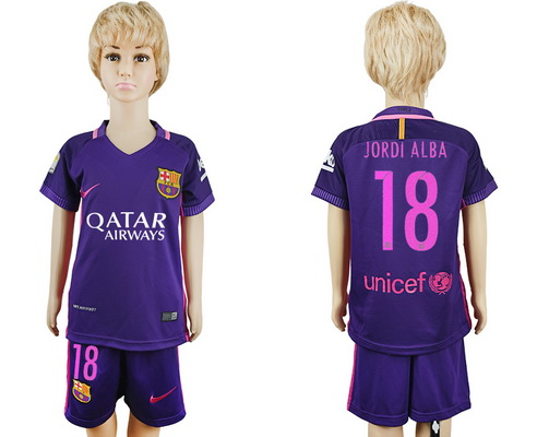 2016-17 Barcelona #18 JORDI ALBA Away Soccer Youth Purple Shirt Kit