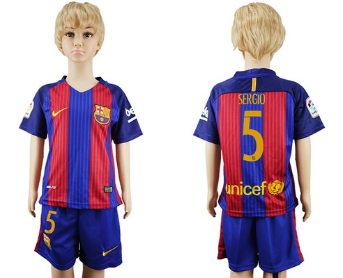 2016-17 Barcelona #5 SERGIO Home Soccer Youth Red and Blue Shirt Kit