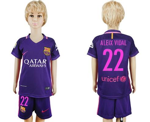 2016-17 Barcelona #22 ALEIX VIDAL Away Soccer Youth Purple Shirt Kit