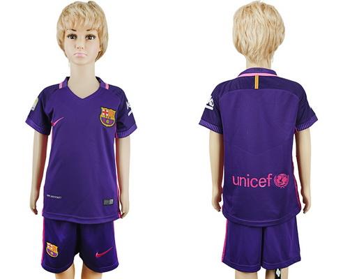 2016-17 Barcelona Blank or Custom Away Soccer Youth Purple Shirt Kit