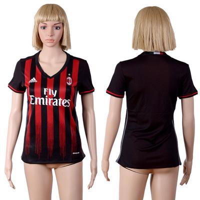 2016-17 AC Milan Blank or Custom Home Soccer Women's Black AAA+ Shirt