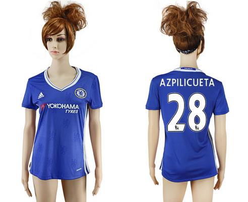 2016-17 Chelsea #28 AZPILICUETA Home Soccer Women's Blue AAA+ Shirt