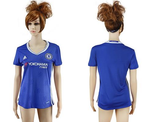 2016-17 Chelsea Blank or Custom Home Soccer Women's Blue AAA+ Shirt
